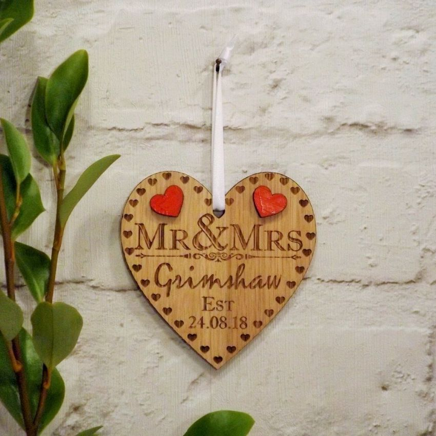 Personalised Mr and Mrs Wooden Heart Hanging Decoration, Anniversary Gift